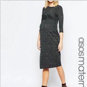 ASOS twist front gray marl dress